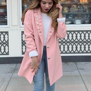 Pink Embellished Longline Blazer Coat